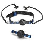 Кляп с зажимами для сосков Whipsmart Diamond Collection Ball Gag & Nipple Clips, синий - Фото №1