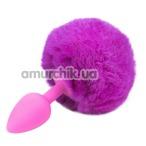 Анальная пробка с розовым хвостиком Honey Bunny Tail, розовая - Фото №1
