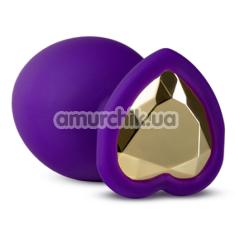 Анальная пробка с золотым кристаллом Temptasia Bling Plug Large, фиолетовая - Фото №1