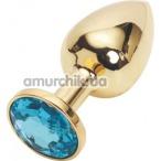 Анальная пробка с голубым кристаллом SWAROVSKI, 7.5 см гладкая золотая - Фото №1
