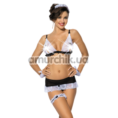 Комплект ANS Nathella чёрно-белый: бюстгальтер + трусики-стринги + юбка + подвязка + манжеты + головной убор - Фото №1