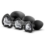 Набор анальных пробок с прозрачными кристаллами Luxe Bling Plugs Trainer Kit, черный - Фото №1