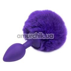 Анальная пробка с фиолетовым хвостиком Honey Bunny Tail, фиолетовая - Фото №1