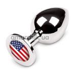 Анальная пробка с американским флагом Пикантные Штучки Large, серебряная