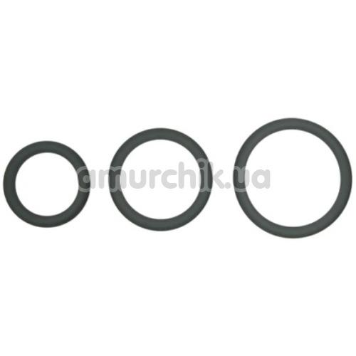 Набор эрекционных колец Hombre Snug Fit Silicone Thin C-Rings, серый - Фото №1