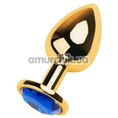 Анальная пробка с синим кристаллом Toyfa Metal 717006-6, золотая - Фото №1
