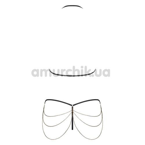 Комплект Obsessive Redella черный: бюстгальтер + трусики-стринги