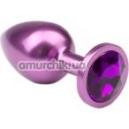 Анальная пробка с фиолетовым кристаллом Purple Metal Luxe M - Фото №1