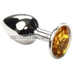 Анальная пробка с желтым кристаллом SWAROVSKI Silver Citrine Small, серебряная - Фото №1