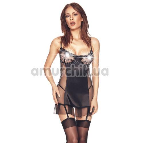 Комплект Anais Luxx чёрный: пеньюар + трусики-стринги - Фото №1