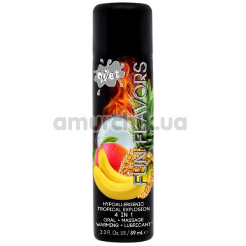 Массажно-оральный лубрикант с согревающим эффектом Wet Fun Flavors 4-in-1 Tropical Explosion, 89 мл