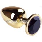 Анальная пробка с черным кристаллом SWAROVSKI Gold Black Diamond Big, золотая - Фото №1