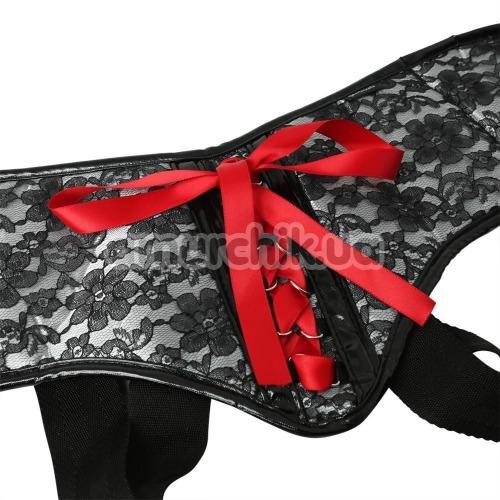 Трусики для страпона Sportsheets Plus Size Grey & Black Lace Corsette Strap-On, черные