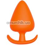 Анальная пробка Bootyful Silicone Plug With T-Handle 6.3 см, оранжевая - Фото №1