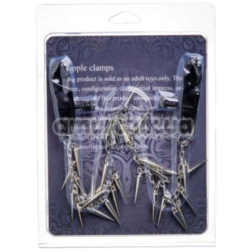 Зажимы для сосков с цепочкой и шипами Lucky Bay Nipple Play Chain and Spike, серебряные