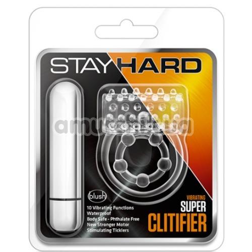 Виброкольцо Stay Hard Vibrating Super Clitifier, прозрачное