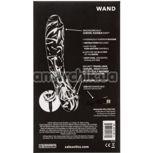 Вибратор для точки G Hype Wand, черно-белый