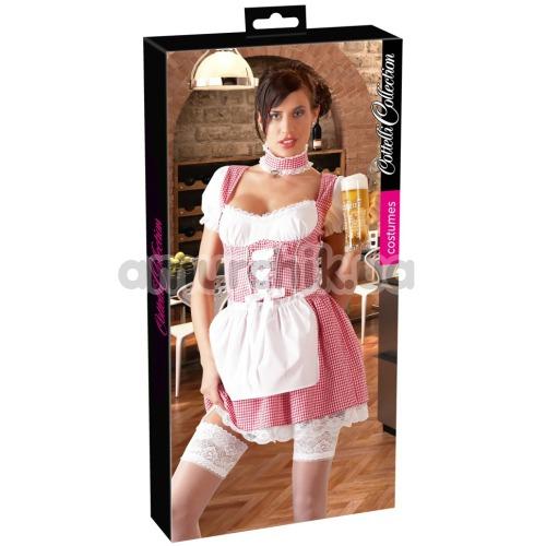 Костюм официантки Cottelli Collection Costumes бело-красный: платье + фартук + трусики-стринги + чокер