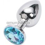 Анальная пробка с голубым кристаллом, 7.5 см гладкая серебряная - Фото №1