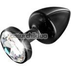 Анальная пробка с прозрачным кристаллом SWAROVSKI Anni Round T1, черная - Фото №1