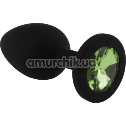 Анальная пробка с салатовым кристаллом SWAROVSKI Zcz, черная - Фото №1