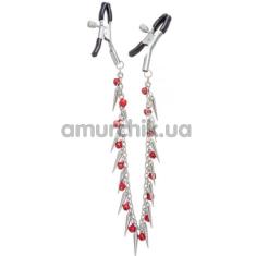 Зажимы для сосков с бусинами и шипами Lucky Bay Nipple Play Chain Red Bell and Spike, серебряные - Фото №1