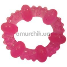 Кольцо-насадка Pure Arousal розовое с пупырышками и кругами - Фото №1