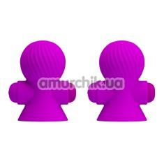 Вакуумные стимуляторы для сосков с вибрацией Pretty Love Vibrating Nipple Suckers, фиолетовые - Фото №1