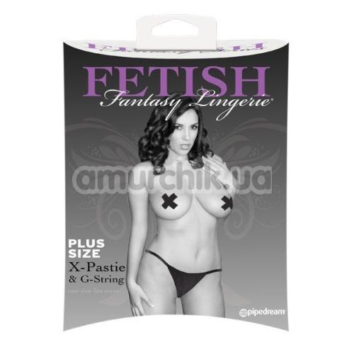 Комплект Fetish Fantasy Lingerie X-Pastie and G-String черный: трусики-стринги + украшения для сосков