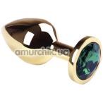 Анальная пробка с зеленым кристаллом SWAROVSKI Gold Emerald Middle, золотая