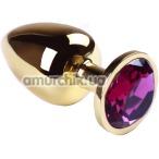 Анальная пробка с розовым кристаллом SWAROVSKI Gold Amethyst Big, золотая - Фото №1