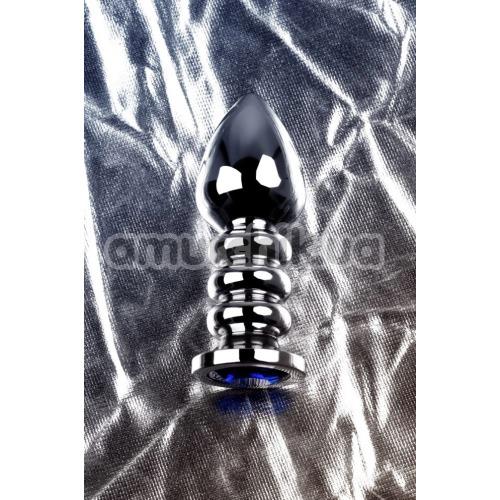 Анальная пробка с синим кристаллом Toyfa Metal 717055-6, серебряная