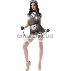Костюм горничной LeFrivole Easy To Love (02907) черный: платье + фартук + фартук + чулки + головной убор - Фото №1