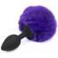 Анальная пробка с фиолетовым хвостиком Loveshop S, черная - Фото №3