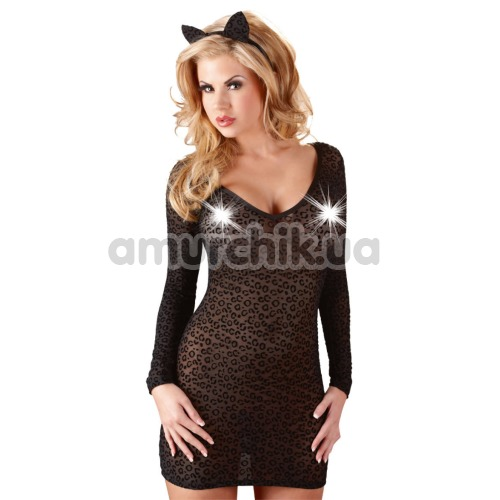 Костюм кошки Cottelli Collection 2470446 чёрный: платье + кошачьи ушки
