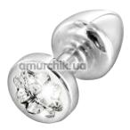 Анальная пробка с прозрачным кристаллом SWAROVSKI Anni R Clover T2, серебряная - Фото №1