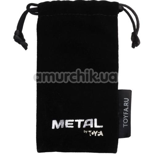 Анальная пробка с черным кристаллом Toyfa Metal Heart 717017-135, золотая