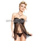 Комплект Tanya черный: пеньюар + трусики-стринги - Фото №1
