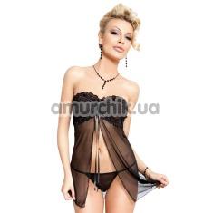 Купить Комплект Tanya черный: пеньюар + трусики-стринги