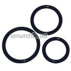 Набор из 3 эрекционных колец Cock Ring Set, черный - Фото №1