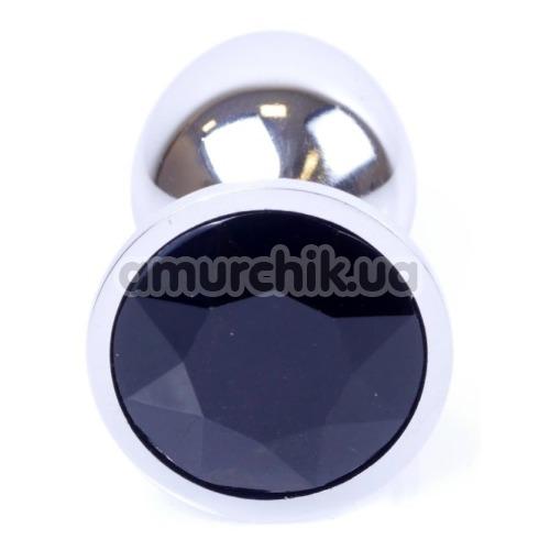 Анальная пробка с черным кристаллом Exclusivity Jewellery Silver Plug, серебряная