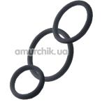 Набор из 3 эрекционных колец Black & Red Cock Rings Set, черный - Фото №1