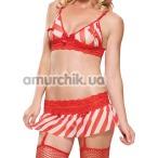 Комплект Leg Avenue Peek-A-Boo (модель 31045) красно-белый: бюстгальтер + юбочка - Фото №1