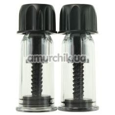 Вакуумные стимуляторы для сосков Vacuum Twist Suckers, черные - Фото №1