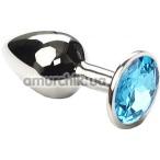 Анальная пробка с голубым кристаллом SWAROVSKI Silver Blue Small, серебряная - Фото №1