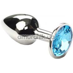 Купить Анальная пробка с голубым кристаллом SWAROVSKI Silver Blue Small, серебряная