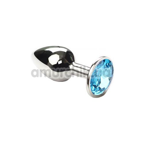 Анальная пробка с голубым кристаллом SWAROVSKI Silver Blue Small, серебряная