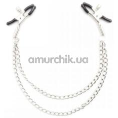 Зажимы для сосков Loveshop Double Chain, серебряные - Фото №1