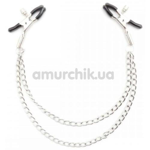 Зажимы для сосков Loveshop Double Chain, серебряные