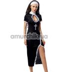 Костюм монашки JSY Nun Costume 6125 черный: платье + головной убор + трусики - Фото №1